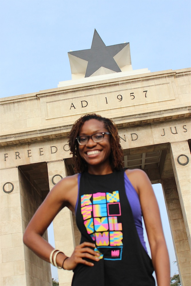 African Urbanism author Victoria Okoye at Black Star Square (Independence Square) in Accra, Ghana. (Photo Credit: Abena Annan)