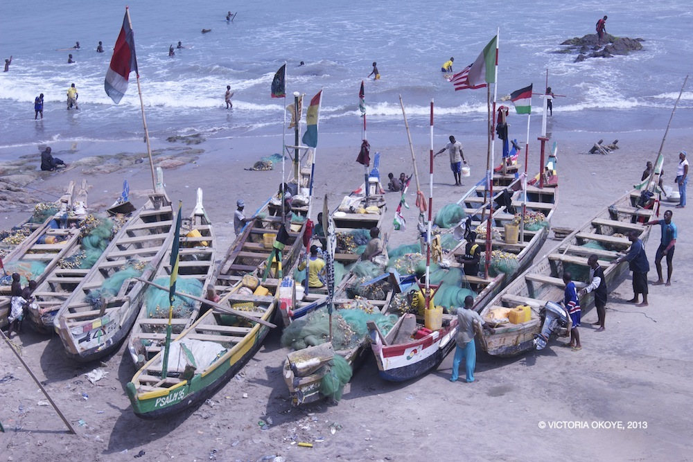 At the foot of the Cape Coast castle, the locals continue their livelihoods -- fishing -- a local trade that predates the history of the castle itself.