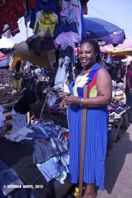 Vida, who has been working at Kantamanto for more than 10 years, has this space and a nearby store space where she sells women and children's clothes.