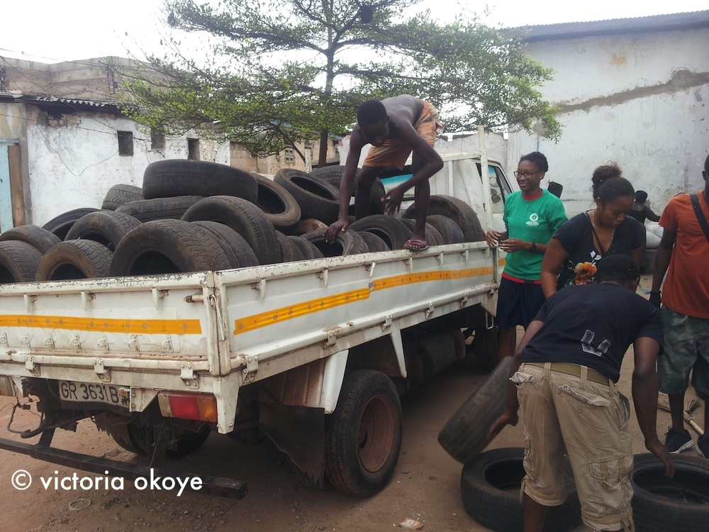 Akua Nyame-Mensah, our teammate, was in charge of collecting donated tires and bringing them to the site. She brought about 70!