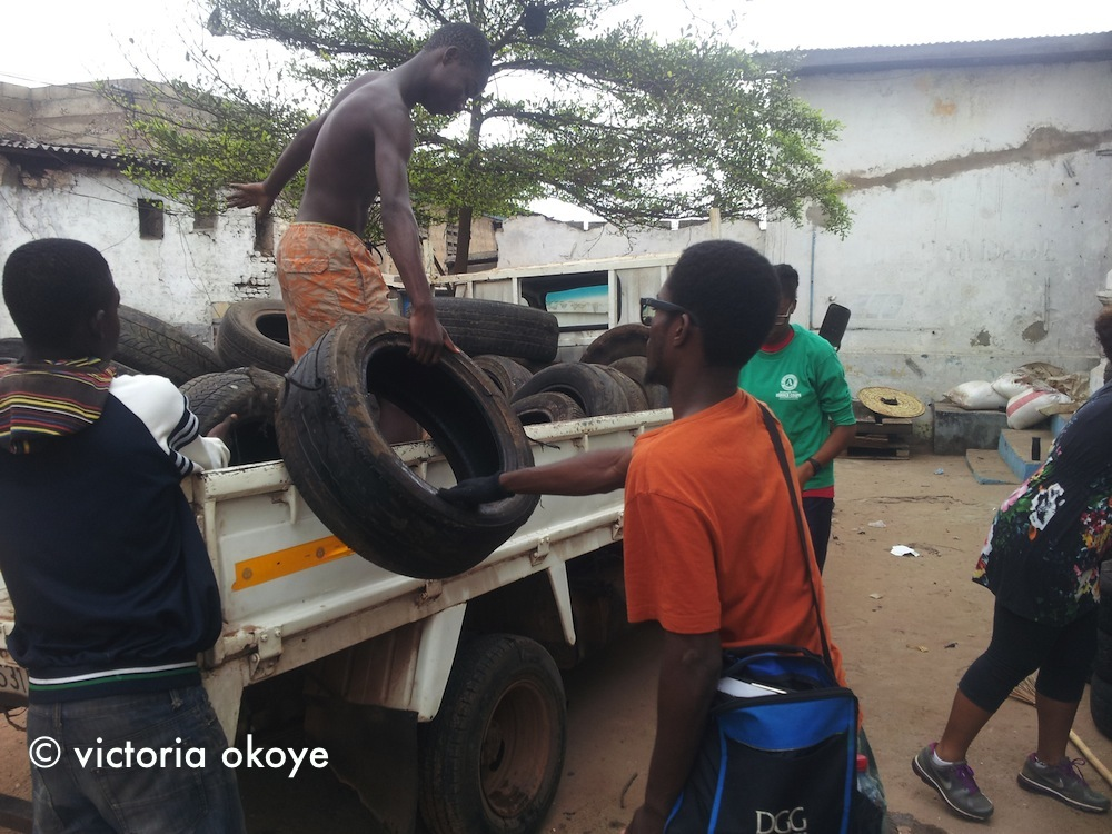 Ato Annan of the Foundation for Contemporary Art brought tires and helped us unload them, too.