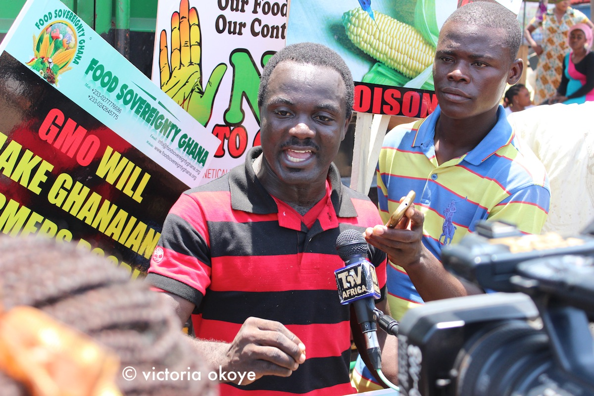 Elvis Agyei-Manu with Food Sovereignty Ghana shares the anti-GMO message with local media.