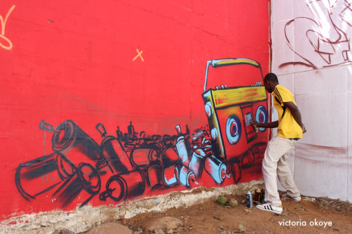 Graffiti creation in process as part of Festigraff 2014. Dakar, Senegal.