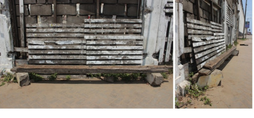 In Jamestown, someone created a bench out of used wooden crates, a wooden slab and two cement blocks. Low cost and the form fits the function.